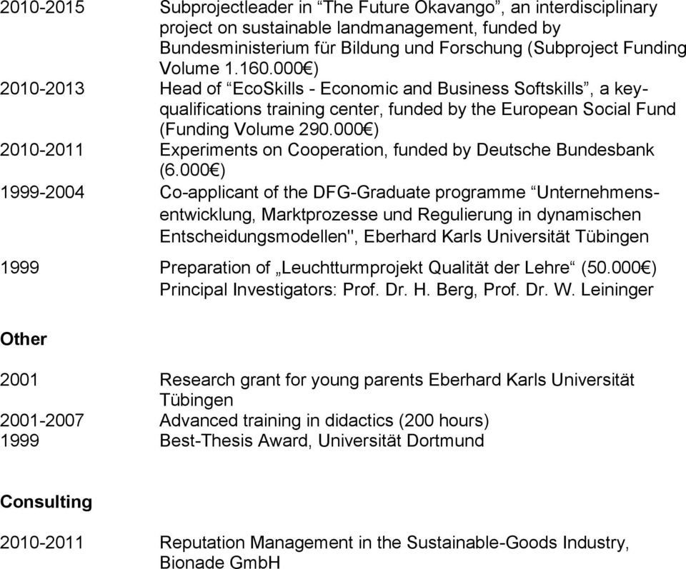 000 ) 2010-2011 Experiments on Cooperation, funded by Deutsche Bundesbank (6.
