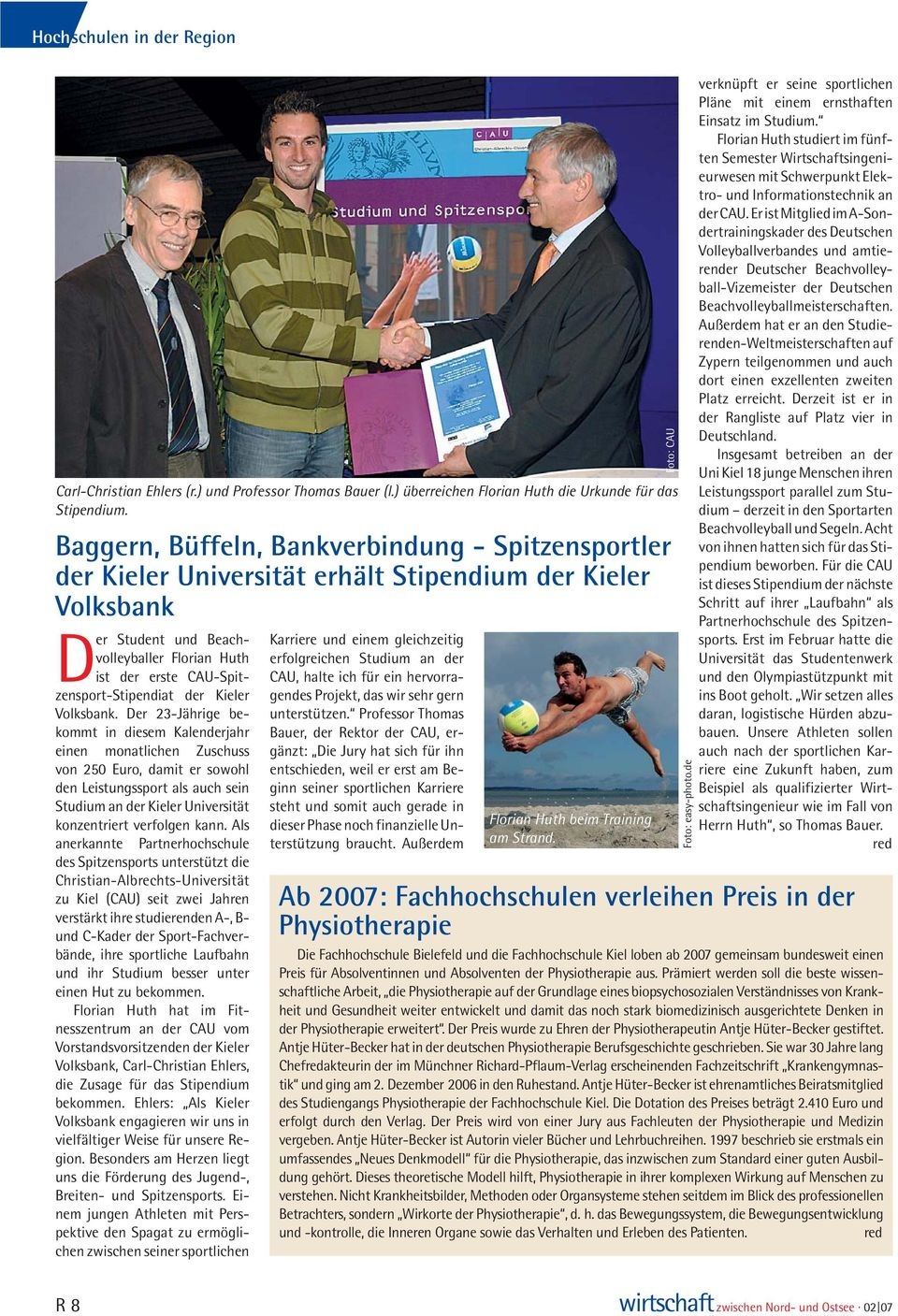 CAU-Spitzensport-Stipendiat der Kieler Volksbank.