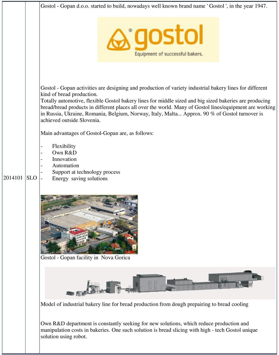 Totally automotive, flexible Gostol bakery lines for middle sized and big sized bakeries are producing bread/bread products in different places all over the world.