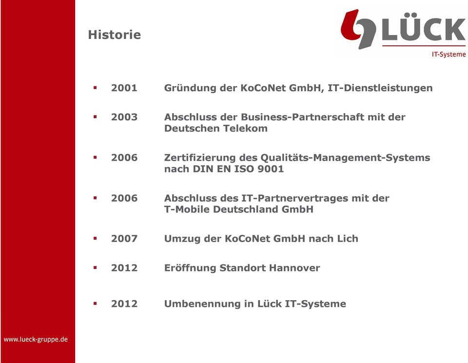 Qualitäts-Management-Systems nach DIN EN ISO 9001 2006 Abschluss des IT-Partnervertrages mit