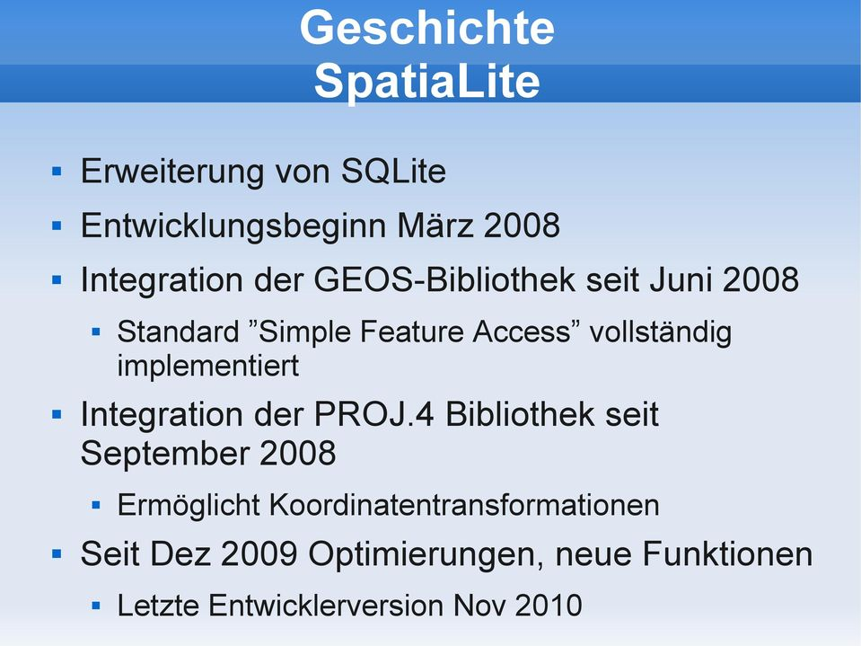 implementiert Integration der PROJ.