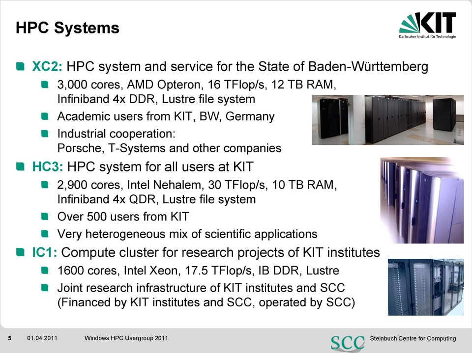 RAM, Infiniband 4x QDR, Lustre file system Over 500 users from KIT Very heterogeneous mix of scientific applications IC1: Compute cluster for research projects of KIT