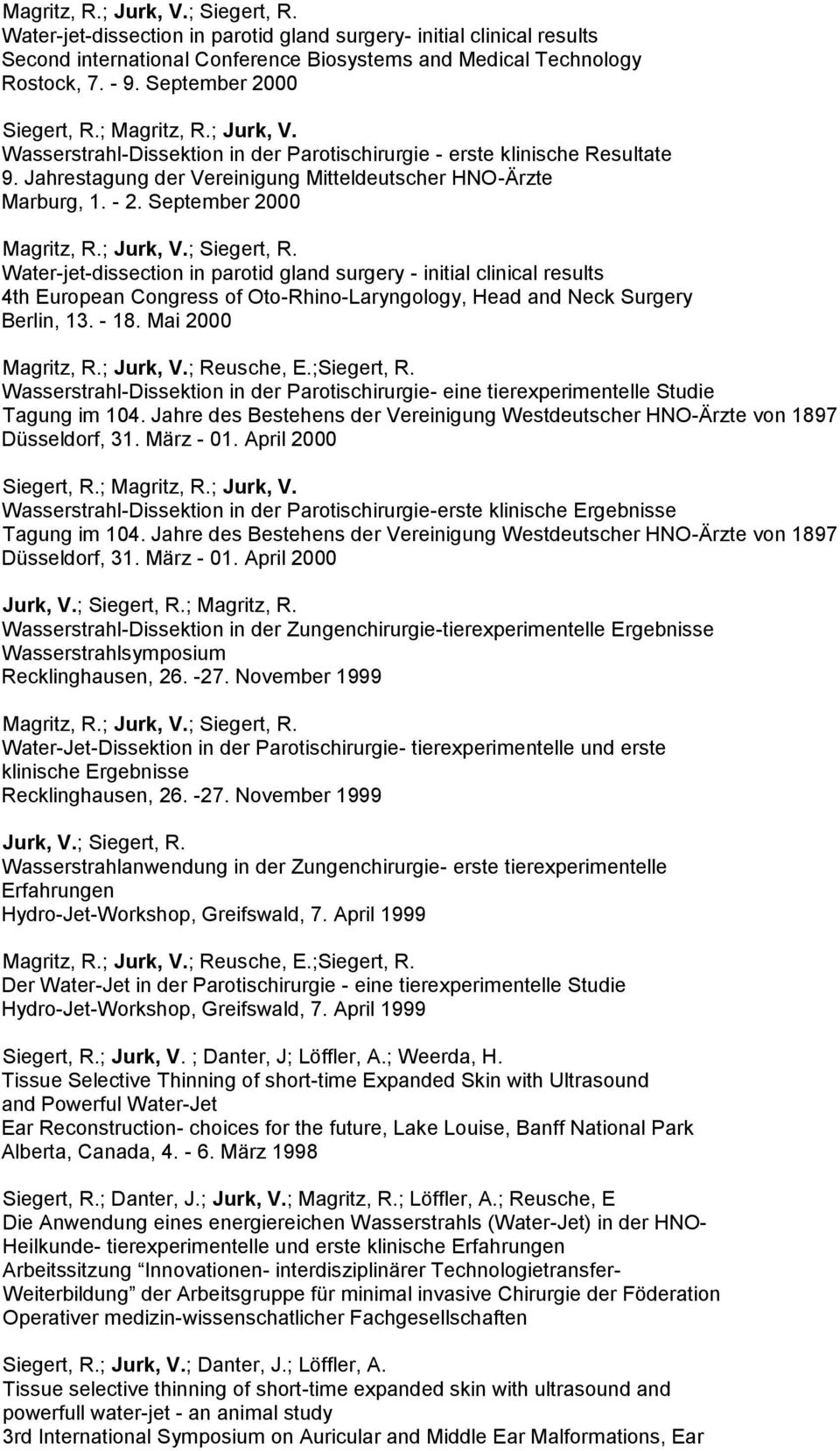 September 2000 Magritz, R.; Water-jet-dissection in parotid gland surgery - initial clinical results 4th European Congress of Oto-Rhino-Laryngology, Head and Neck Surgery Berlin, 13. - 18.