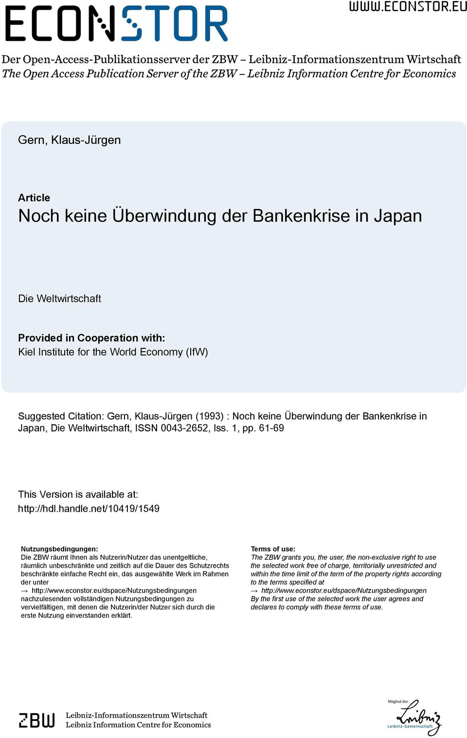 eu Der Open-Access-Publikationsserver der ZBW Leibniz-Informationszentrum Wirtschaft The Open Access Publication Server of the ZBW Leibniz Information Centre for Economics Gern, Klaus-Jürgen Article