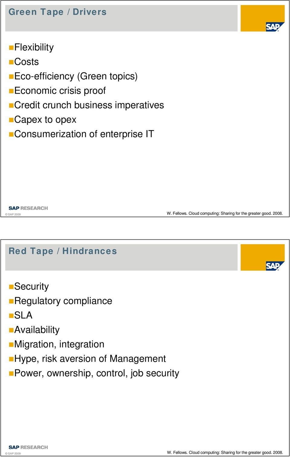 2008. Red Tape / Hindrances Security Regulatory compliance SLA Availability Migration, integration Hype, risk