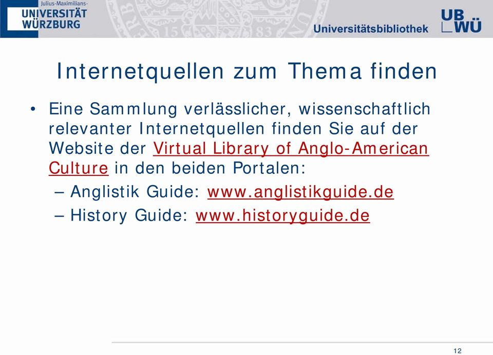 Website der Virtual Library of Anglo-American Culture in den beiden