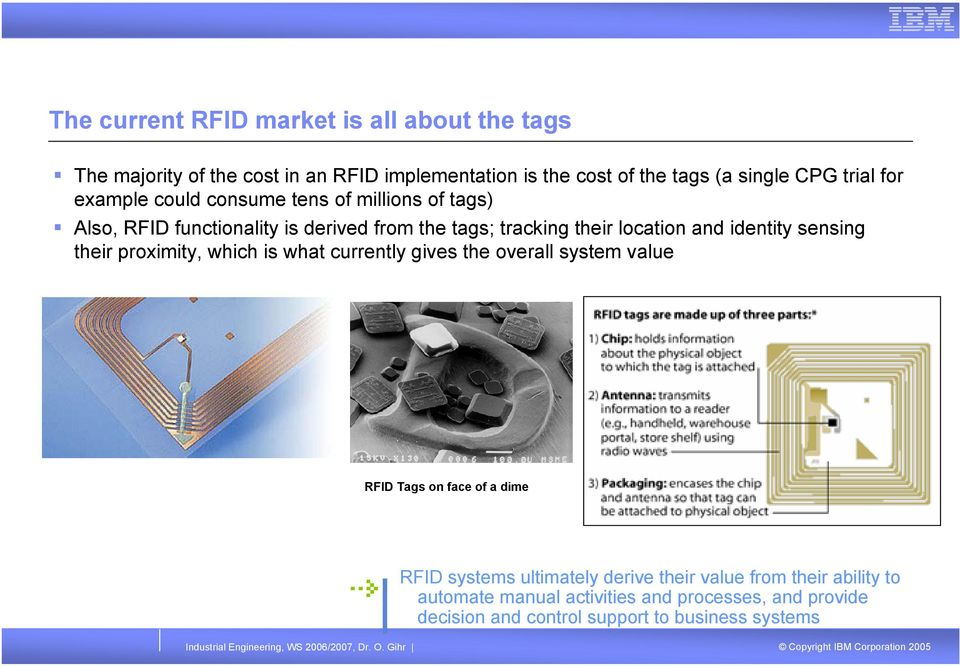identity sensing their proximity, which is what currently gives the overall system value RFID Tags on face of a dime RFID systems