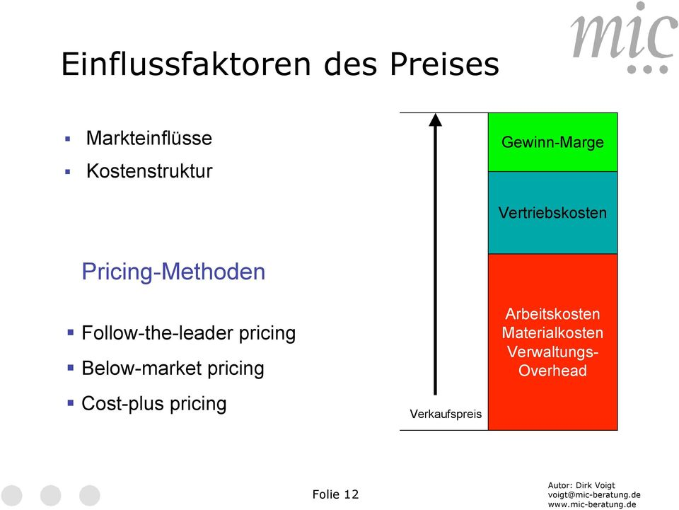 Follow-the-leader pricing Below-market pricing Cost-plus