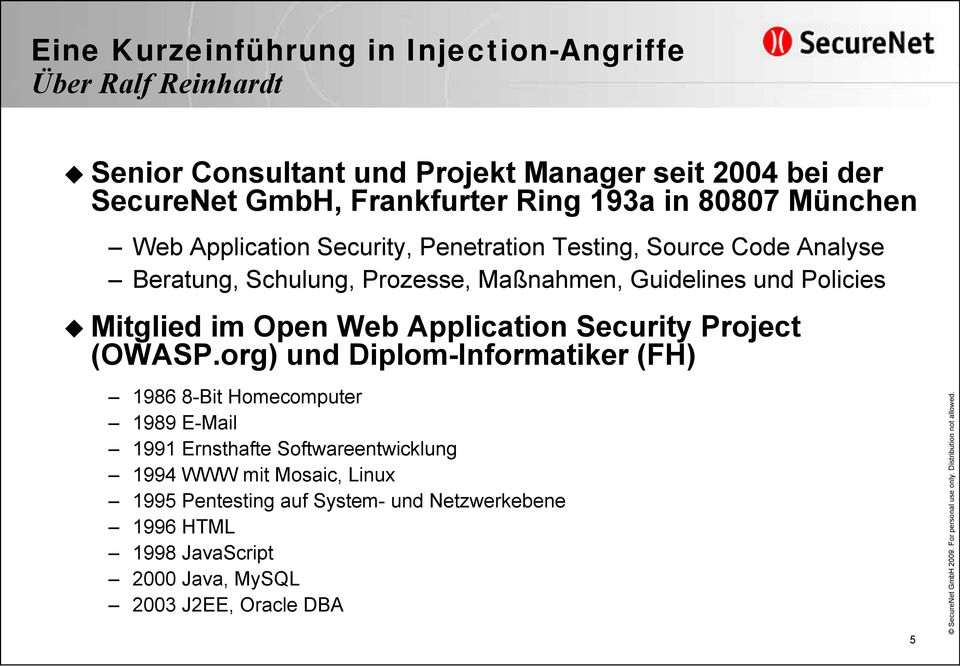 Policies Mitglied im Open Web Application Security Project (OWASP.