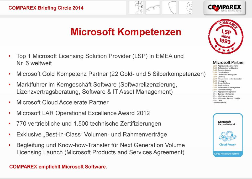 Software & IT Asset Management) Microsoft Cloud Accelerate Partner Microsoft LAR Operational Excellence Award 2012 770 vertriebliche und 1.