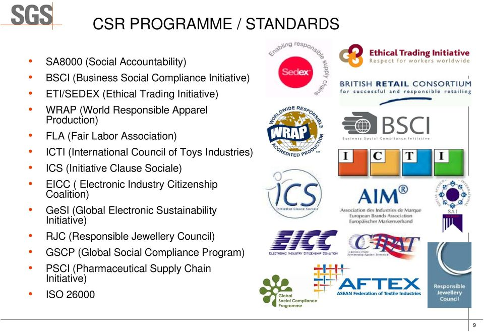 Industries) ICS (Initiative Clause Sociale) EICC ( Electronic Industry Citizenship Coalition) GeSI (Global Electronic