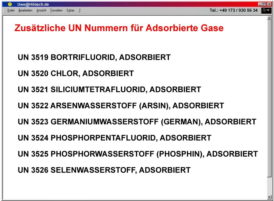 (ARSIN), ADSORBIERT UN 3523 GERMANIUMWASSERSTOFF (GERMAN), ADSORBIERT UN 3524