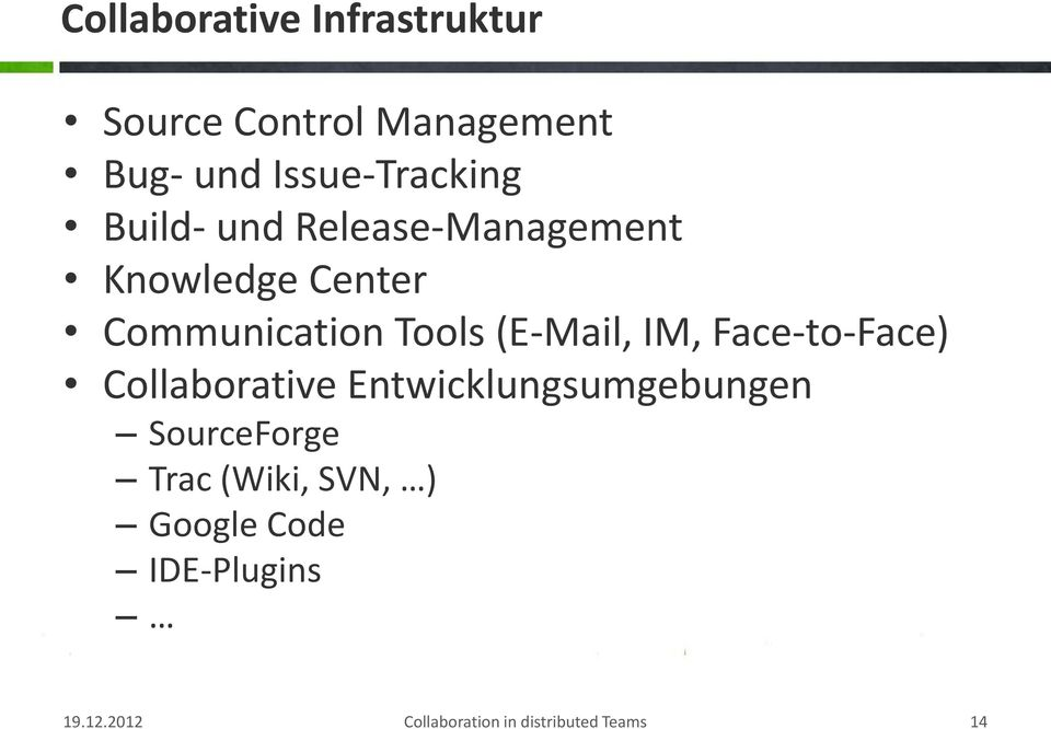 IM, Face-to-Face) Collaborative Entwicklungsumgebungen SourceForge Trac