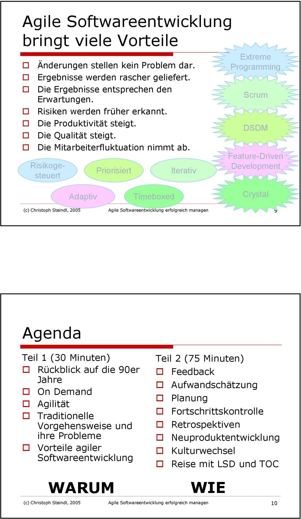 Risikogesteuert Priorisiert Iterativ Extreme Programming Scrum DSDM Feature-Driven Development Adaptiv Timeboxed Crystal (c) Christoph Steindl, 2005 Agile Softwareentwicklung erfolgreich managen 9