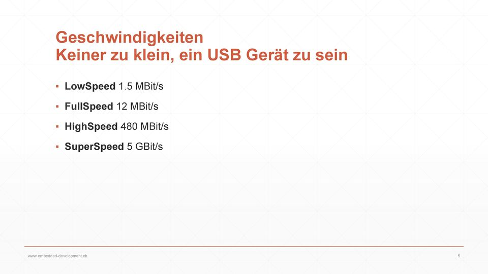 5 MBit/s FullSpeed 12 MBit/s HighSpeed