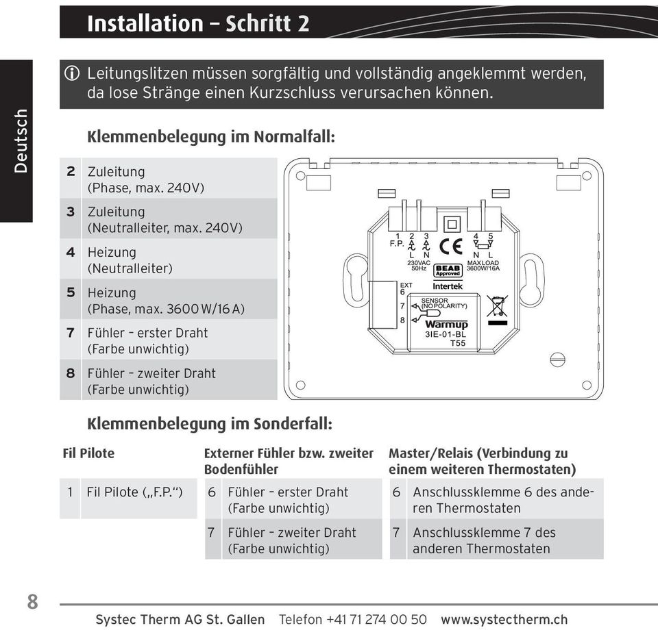 3iE Design-Thermostat Installationshandbuch Seite iE Thermostat ...