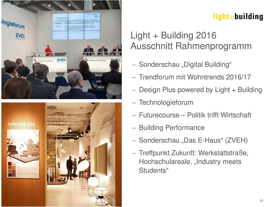 Technologieforum Futurecourse Politik trifft Wirtschaft Building Performance