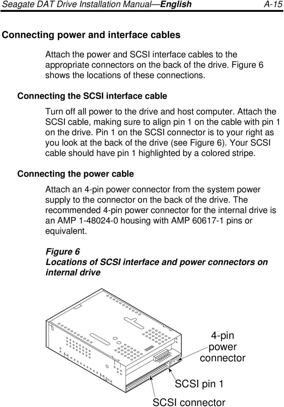 Attach the SCSI cable, making sure to align pin 1 on the cable with pin 1 on the drive. Pin 1 on the SCSI connector is to your right as you look at the back of the drive (see Figure 6).