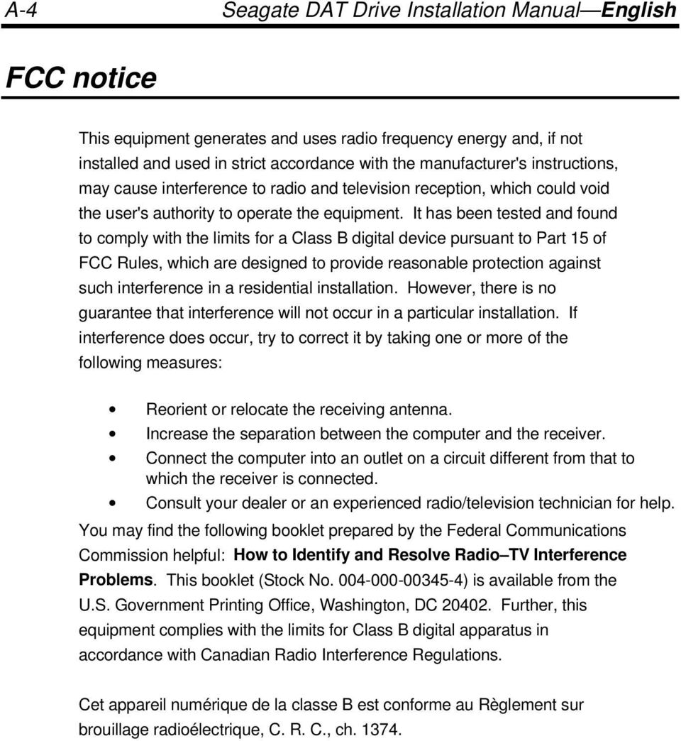It has been tested and found to comply with the limits for a Class B digital device pursuant to Part 15 of FCC Rules, which are designed to provide reasonable protection against such interference in