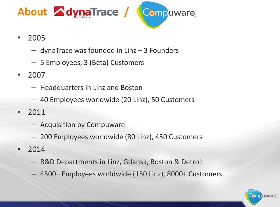 Acquisition by Compuware 200 Employees worldwide (80 Linz), 450 Customers 2014 R&D