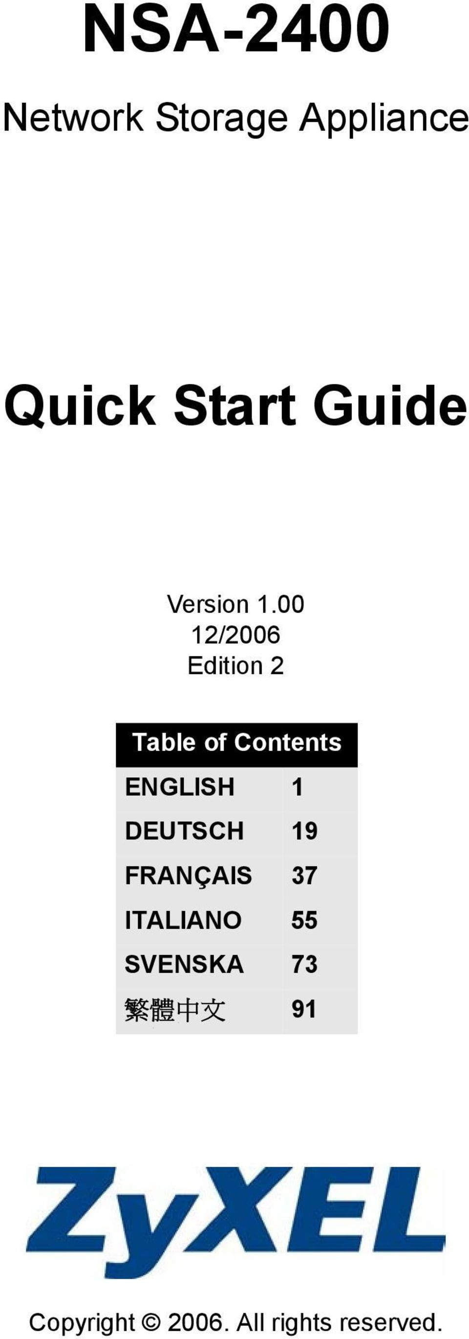 00 12/2006 Edition 2 Table of Contents ENGLISH 1