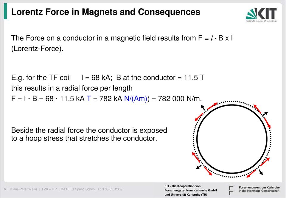 5 T this results in a radial force per length F = I B = 68 11.5 ka T = 782 ka N/(Am)) = 782 000 N/m.