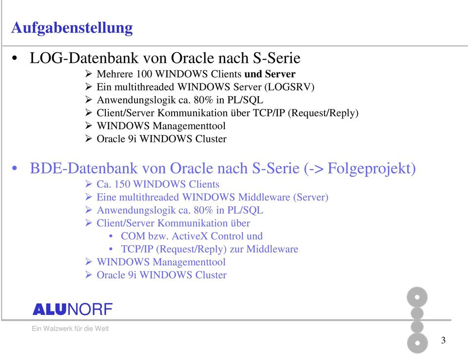 80% in PL/SQL Client/Server Kommunikation über TCP/IP (Request/Reply) WINDOWS Managementtool Oracle 9i WINDOWS Cluster BDE-Datenbank von Oracle