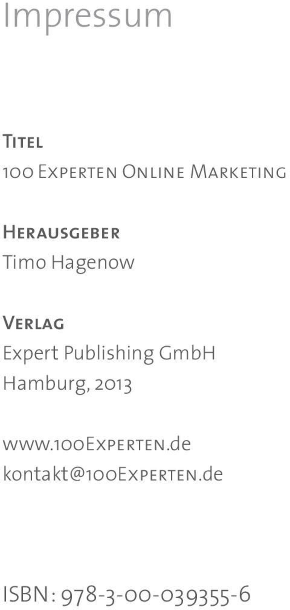 Expert Publishing GmbH Hamburg, 2013 www.
