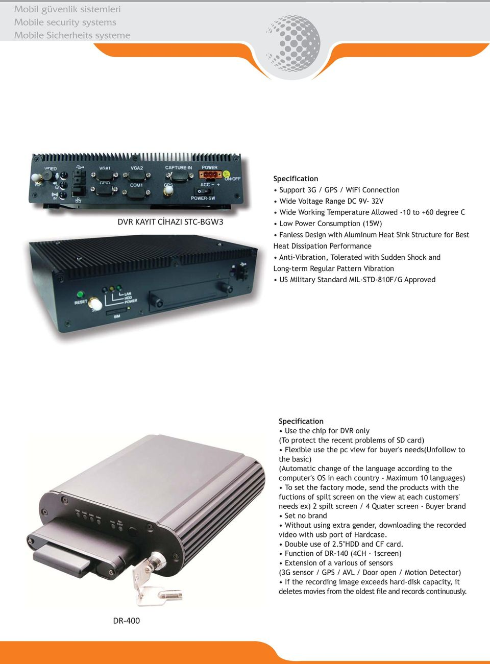 and Long-term Regular Pattern Vibration US Military Standard MIL-STD-810F/G Approved Specification Use the chip for DVR only (To protect the recent problems of SD card) Flexible use the pc view for