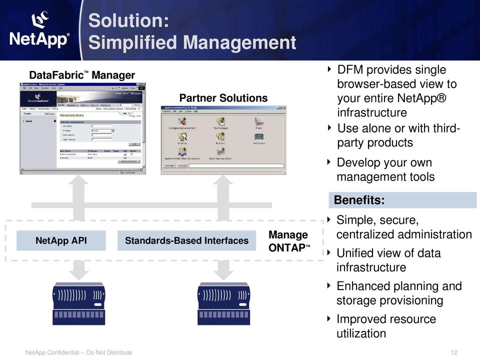 tools Benefits: NetApp API Standards-Based Interfaces Manage ONTAP Simple, secure, centralized