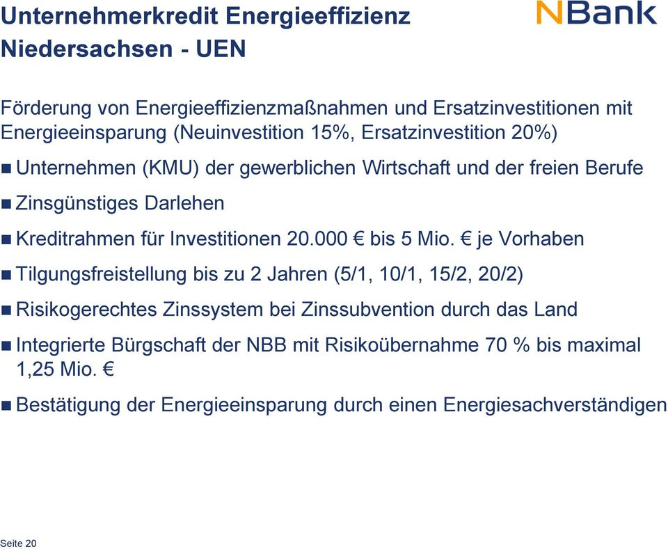 Investitionen 20.000 bis 5 Mio.