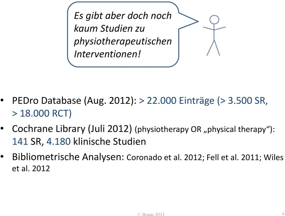 000 RCT) Cochrane Library (Juli 2012) (physiotherapy OR physical therapy ): 141 SR, 4.