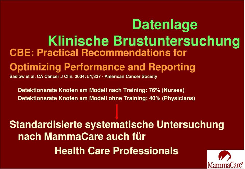 2004: 54;327 - American Cancer Society Detektionsrate Knoten am Modell nach Training: 76% (Nurses)