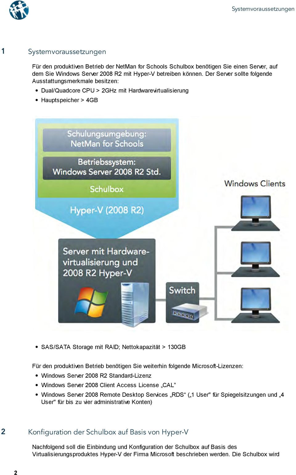 produktiven Betrieb benötigen Sie weiterhin folgende Microsoft-Lizenzen: Windows Server 2008 R2 Standard-Lizenz Windows Server 2008 Client Access License CAL Windows Server 2008 Remote Desktop