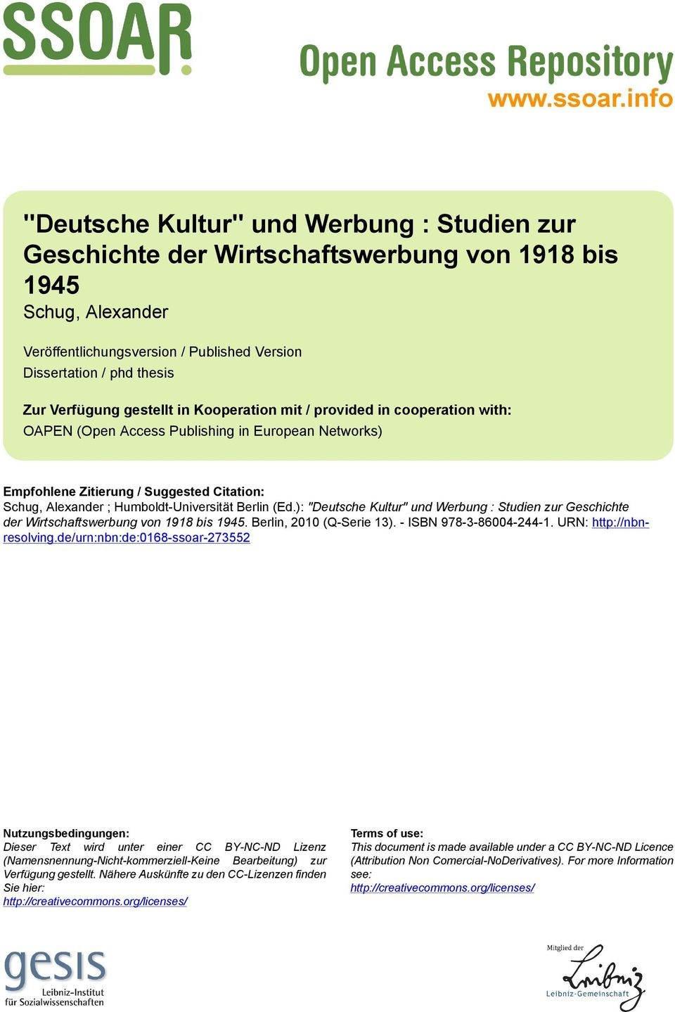 Verfügung gestellt in Kooperation mit / provided in cooperation with: OAPEN (Open Access Publishing in European Networks) Empfohlene Zitierung / Suggested Citation: Schug, Alexander ;