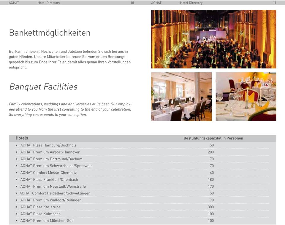 Banquet Facilities Family celebrations, weddings and anniversaries at its best. Our employees attend to you from the first consulting to the end of your celebration.