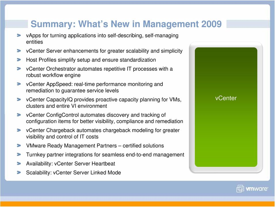 guarantee service levels vcenter CapacityIQ provides proactive capacity planning for VMs, clusters and entire VI environment vcenter ConfigControl automates discovery and tracking of configuration