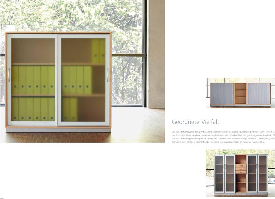 Ausdruck. The REISS cabinet system brings visual variety into the office with numerous design variations.