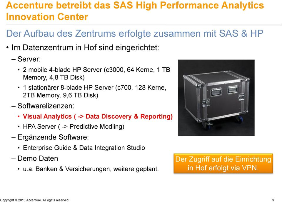 Disk) Softwarelizenzen: Visual Analytics ( -> Data Discovery & Reporting) HPA Server ( -> Predictive Modling) Ergänzende Software: Enterprise Guide & Data