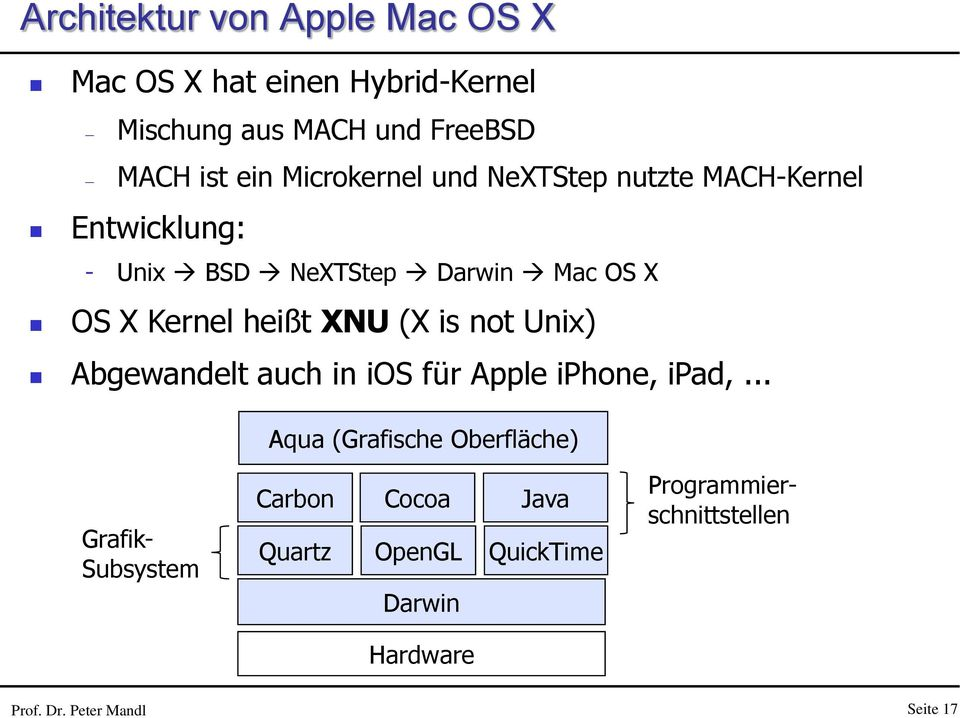 XNU (X is not Unix) Abgewandelt auch in ios für Apple iphone, ipad,.