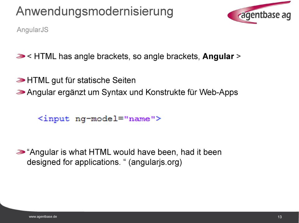 Konstrukte für Web-Apps Angular is what HTML would have been, had