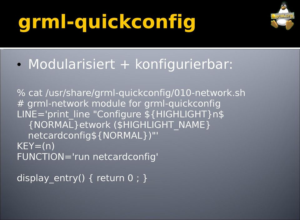 "sh # grml-network module for grml-quickconfig LINE='print_line ""Configure"