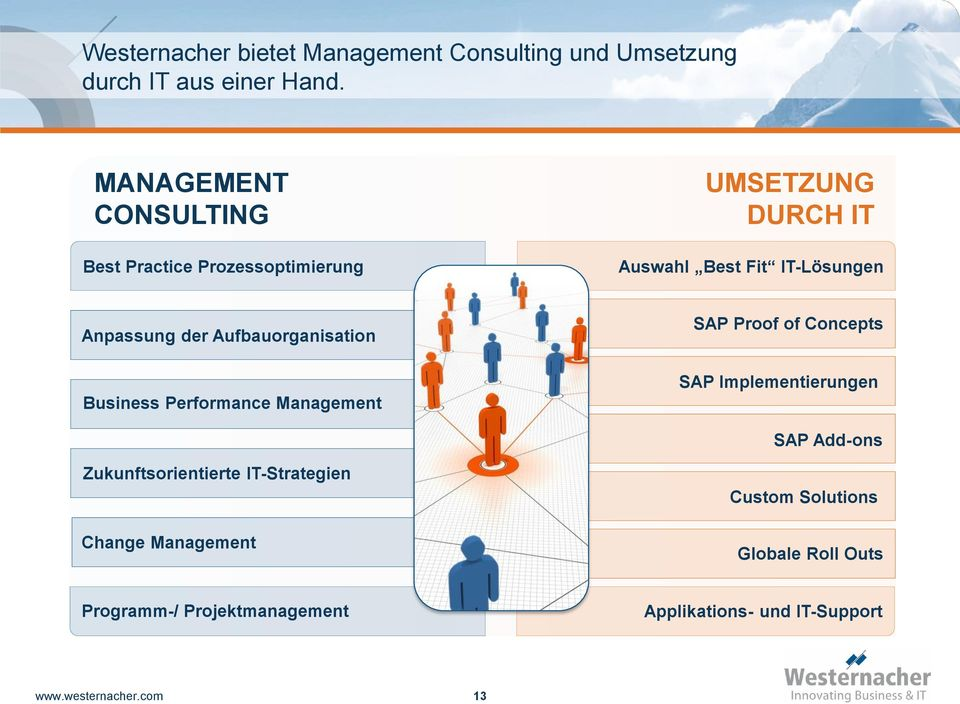 Aufbauorganisation Business Performance Management SAP Proof of Concepts SAP Implementierungen SAP Add-ons