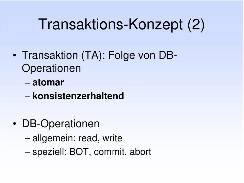 konsistenzerhaltend DB-Operationen