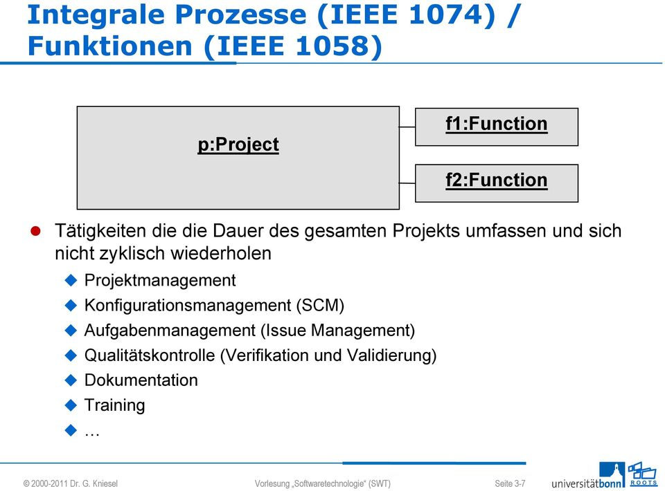 Konfigurationsmanagement (SCM) Aufgabenmanagement (Issue Management) Qualitätskontrolle (Verifikation und