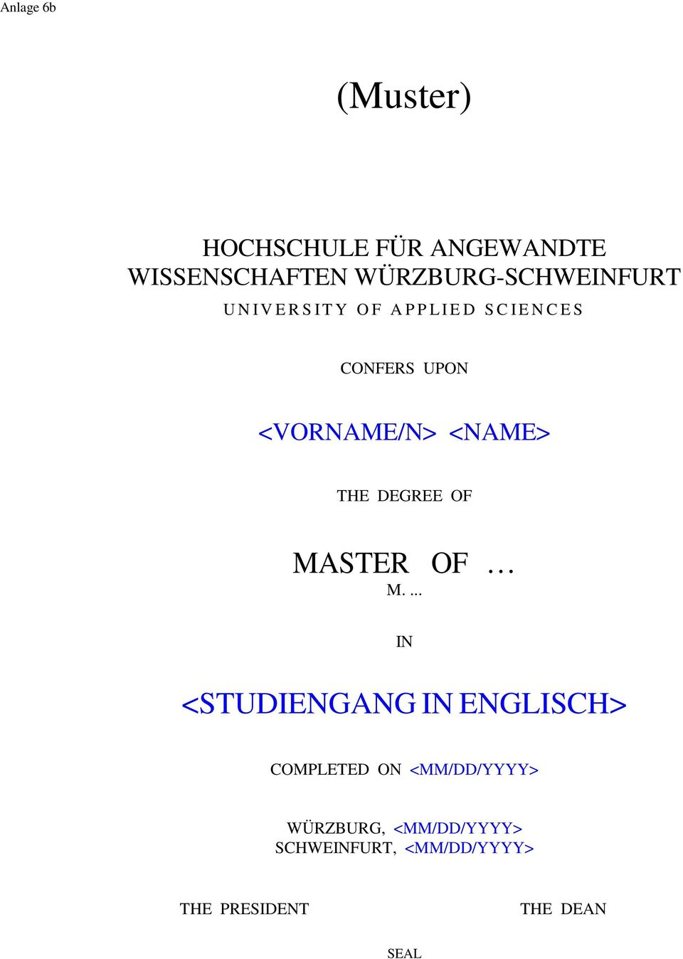 THE DEGREE OF MASTER OF M.