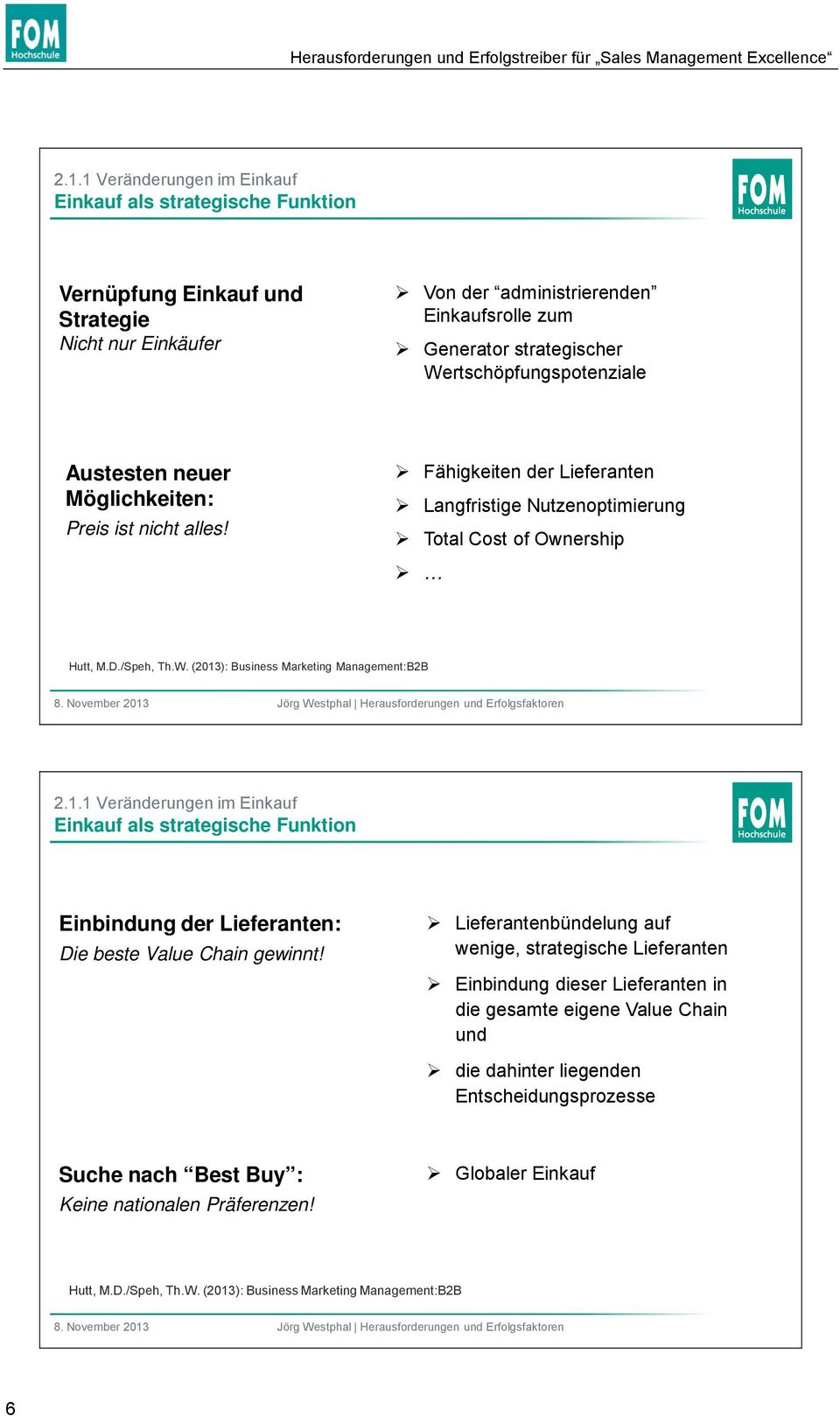 Wertschöpfungspotenziale Austesten neuer Möglichkeiten: Preis ist nicht alles! Fähigkeiten der Lieferanten Langfristige Nutzenoptimierung Total Cost of Ownership Hutt, M.D./Speh, Th.W. (2013): Business Marketing Management:B2B 2.
