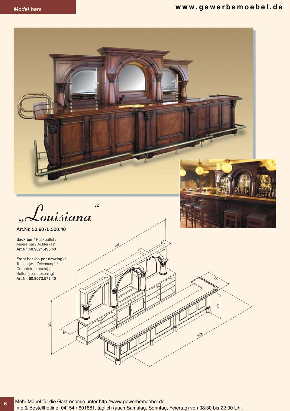 40 Front bar (as per drawing) / Tresen (wie