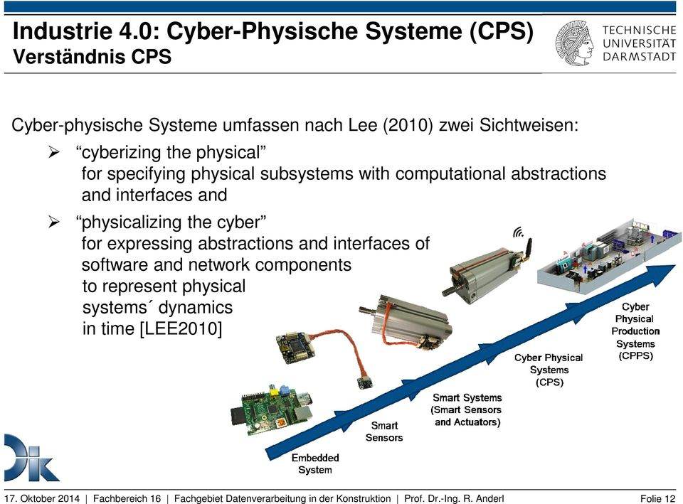 zwei Sichtweisen: cyberizing the physical for specifying physical subsystems with computational