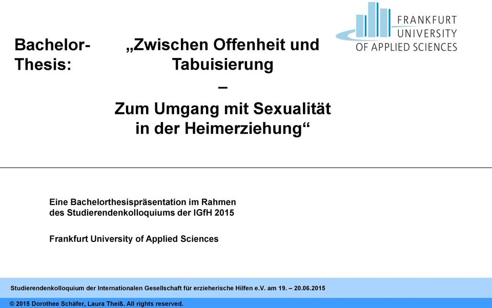 2015 Frankfurt University of Applied Sciences Studierendenkolloquium der Internationalen